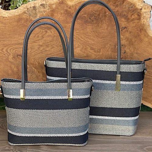 Grey Stripe Tote Bag