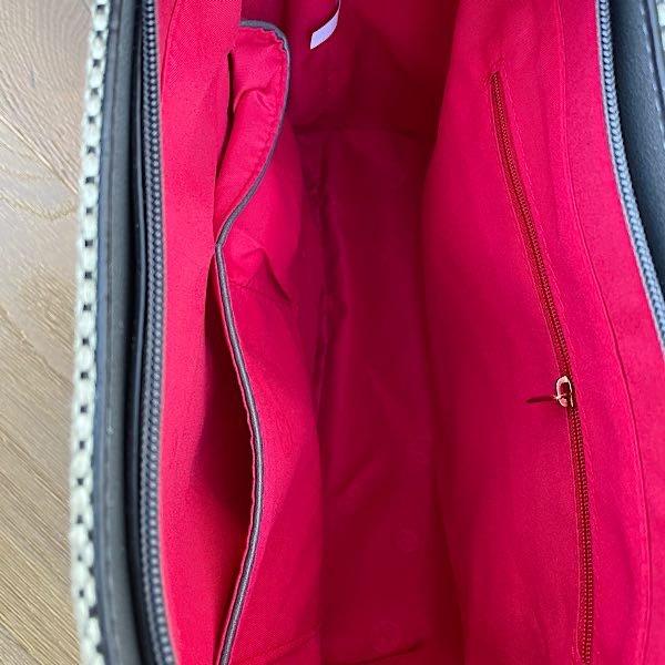 Grey Stripe Tote Bag inside
