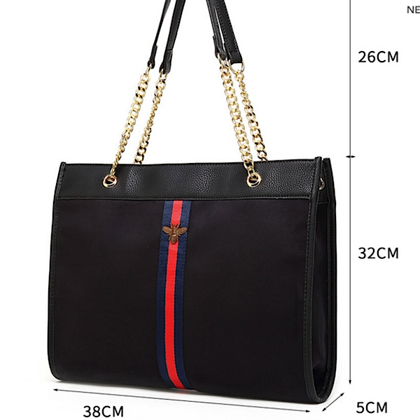 Navy Bee Tote Bag and Purse Set