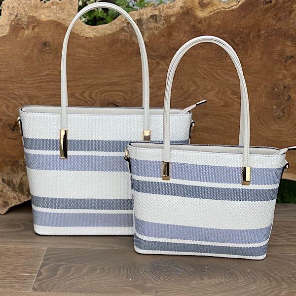 Grey Blue White Stripe Tote Bag