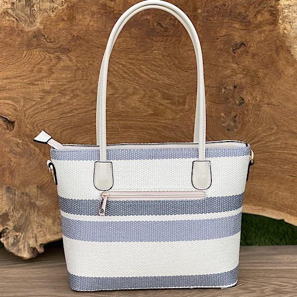 reverse of Grey Blue White Stripe Tote Bag