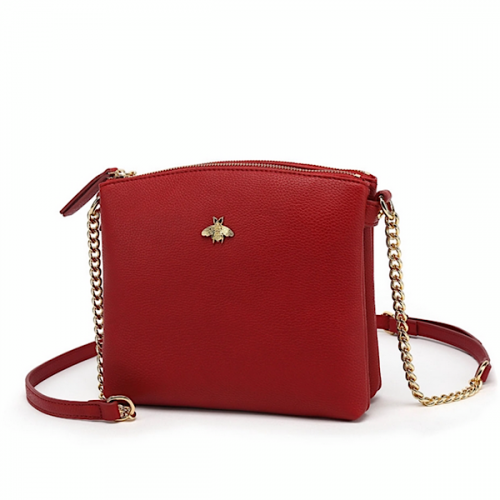 Red bumblebee double zip cross body bag with card holder