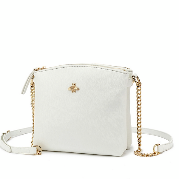 White cross body bee bag