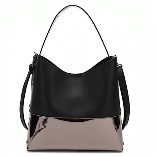 Black with grey metallic paint leather look two in one slouch bag.