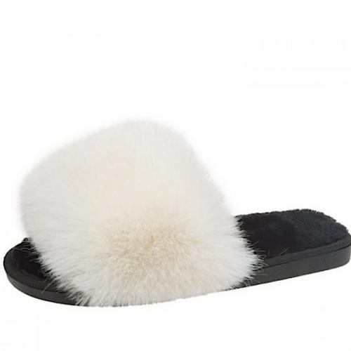 Fluffy Cream Slippers