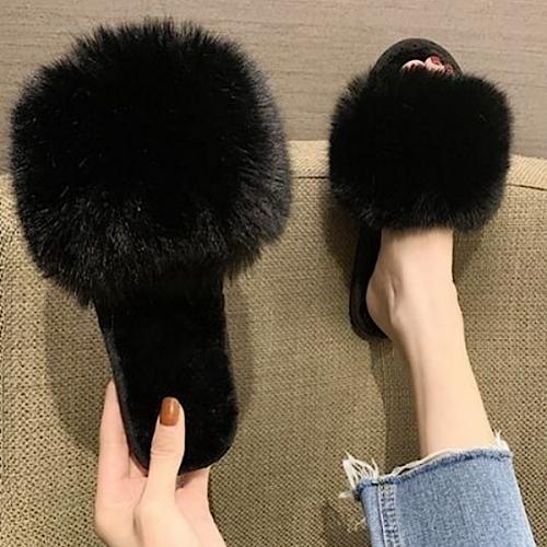Fluffy Black Slippers