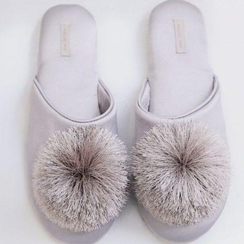 Silver Pompom Tassle Slipper