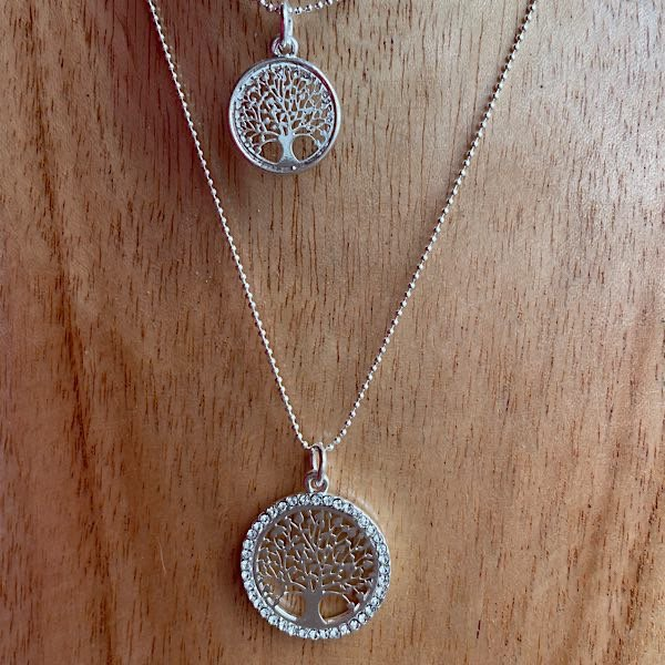 Close up of tree of life necklace