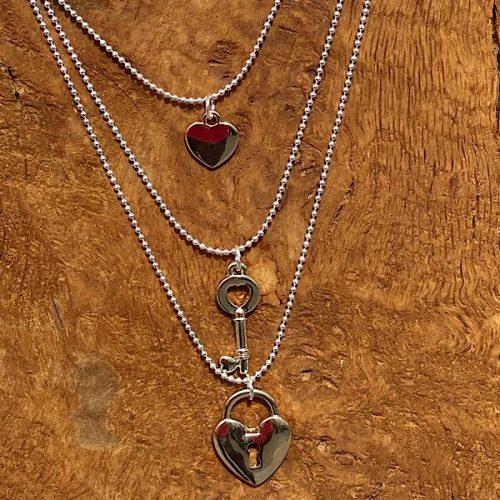 Three Layer Padlock Necklace