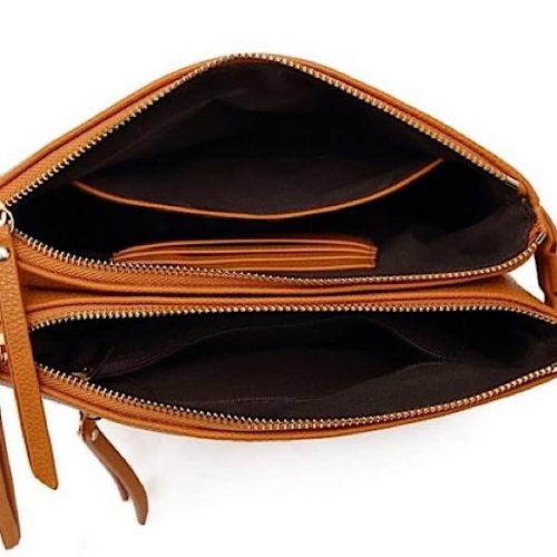 Black Bee Double Zip Cross Bodybag With Cardholder.