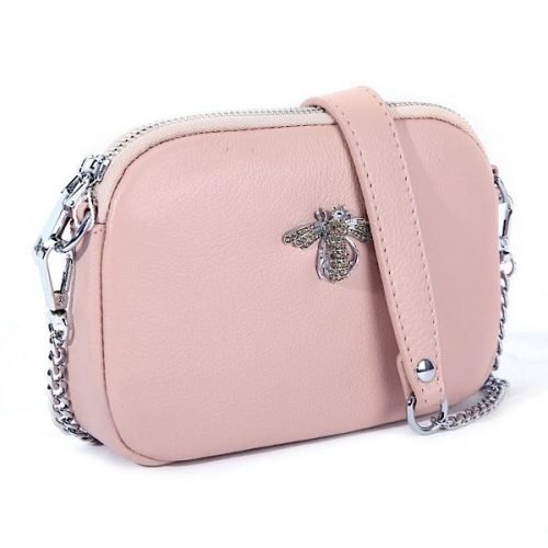Crystal Blush Leather Bee Pouch