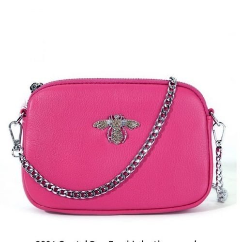 Crystal Fushia Leather Bee Pouch