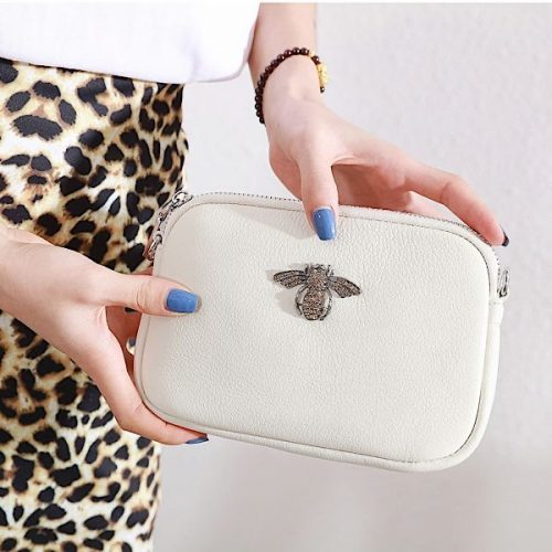 Crystal Cream Leather Bee Pouch