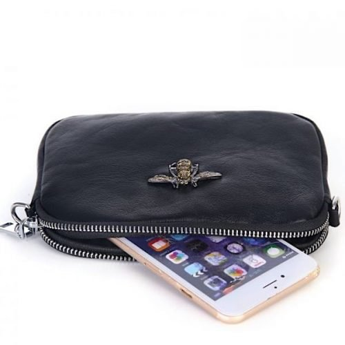 Crystal Black Leather Bee Pouch