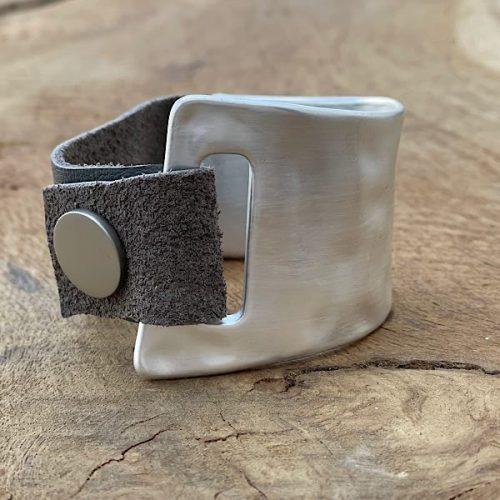 Matt Silver Coloured Cuff Bracelet