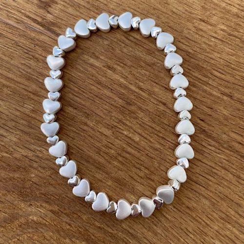 Elasticated Silver Heart Bracelet