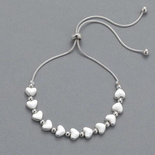 Matt Silver with Beads Friendship Bracelet