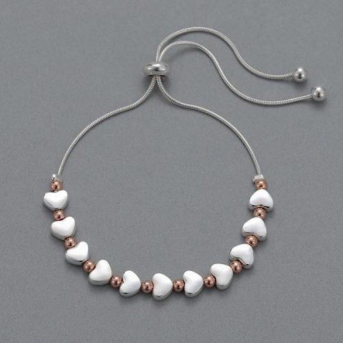 Matt Silver with Rose Gold Beads Friendship Bracelet