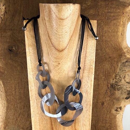 Adjustable Rustic Resin Black Necklace