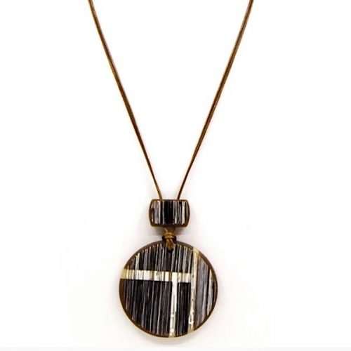 Brown Rustic Resin Long Disc Necklace