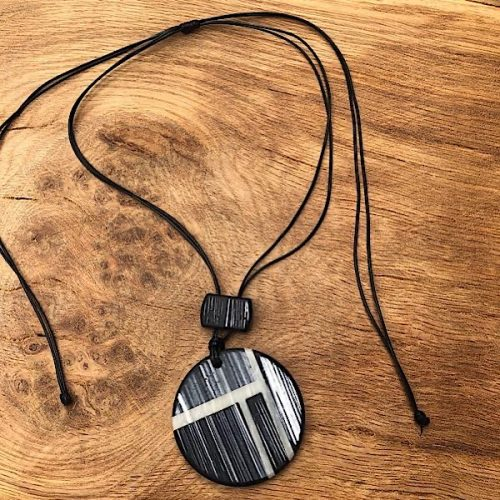 Black Rustic Resin Long Disc Necklace