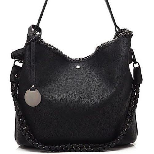 Black Chain Detail Tote Bag