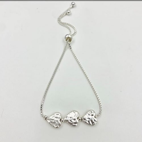 Silver Textured Heart Glide Bracelet