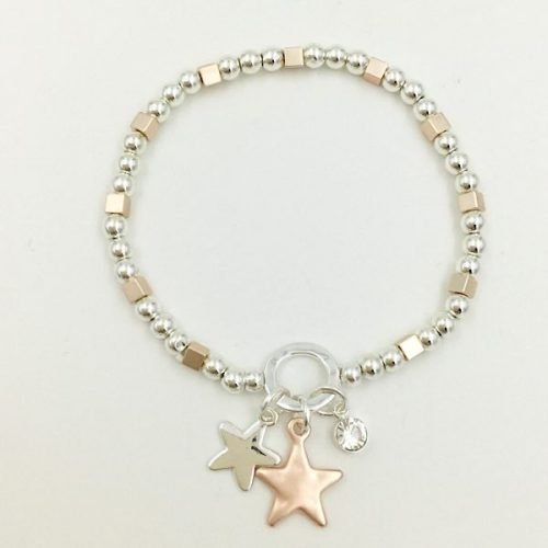 Star Elasticated Rose Gold and Silver Bracelet