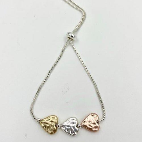 Tri Coloures Textured Heart Glide Bracelet
