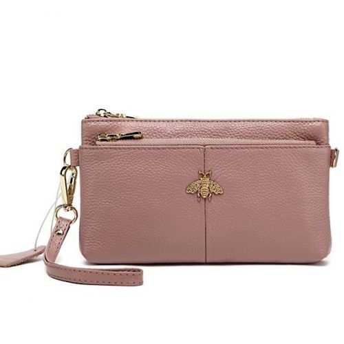 Large Pink Leather Bee Purse