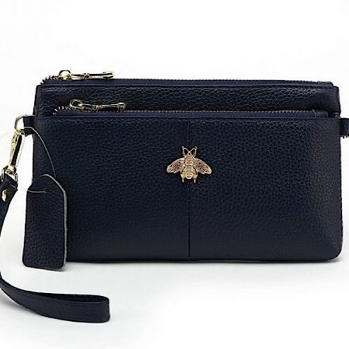 Large Navy Leather Bee Purse