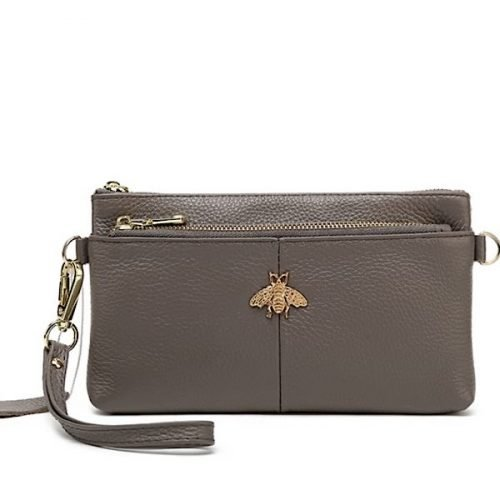 Large Grey Leather Bee Purse