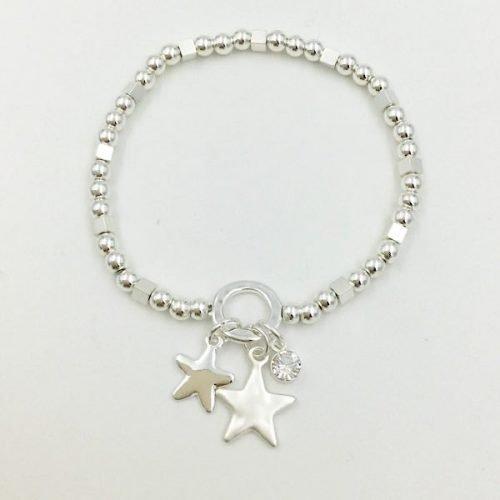 Star Elasticated Silver Bracelet