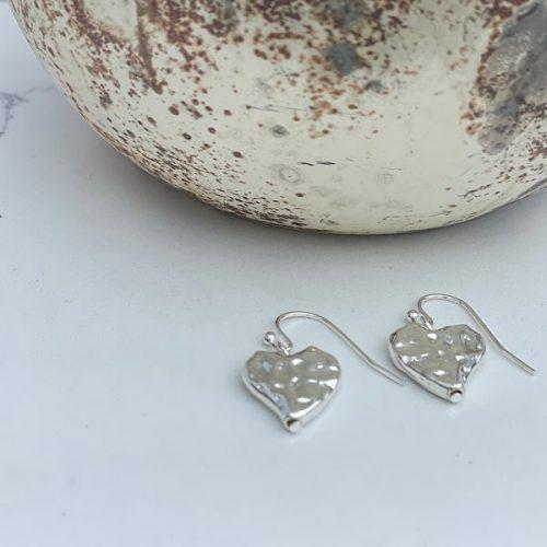 Silver Textured Heart Earrings