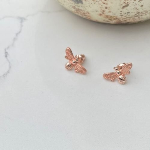 Rose Gold Bee Stud Earrings
