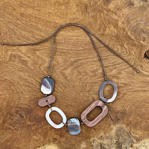 Adjustable Resin and Wood Handmade Necklace