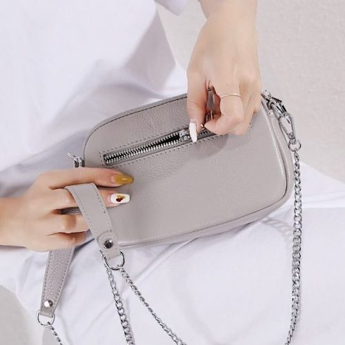 Crystal Grey Leather Bee Pouch or Clutch Bag