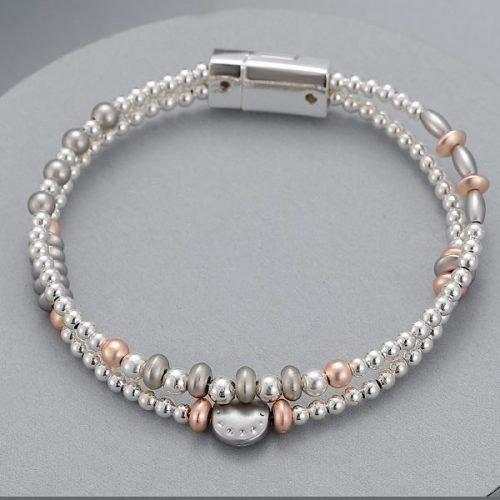 Silver Bead Detailed Magnetic Bracelet