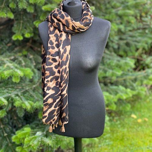 Leopard Print Scarf With Tassels