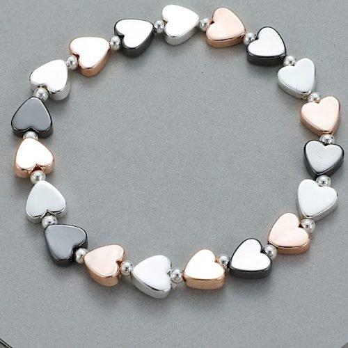 Elasticated Tri-Coloured Heart Bead Bracelet