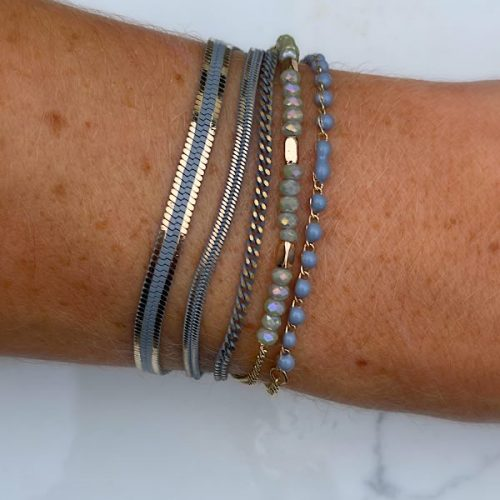 Magnetic Clasp Grey and Gold Bracelet