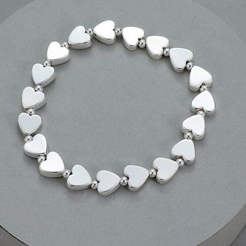 Elasticated Silver Coloured Heart Bead Bracelet