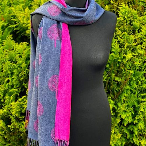 Blue And Cerise Mulberry Scarf Or Pashmina