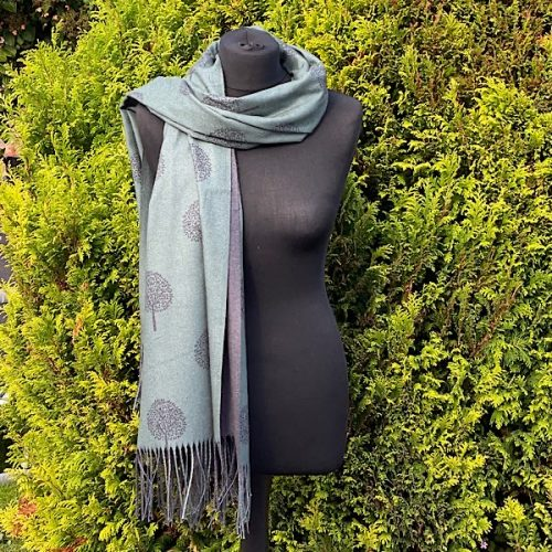 Teal Green And Grey Mulberry Scarf Or Pashmina