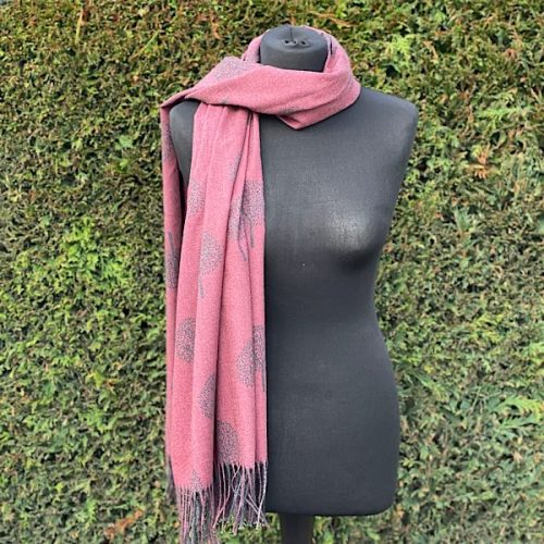 Wine And Grey Mulberry Scarf Or Pashmina