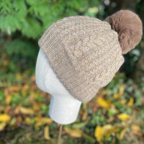 Beige Cable Cashmere Blend Bobble Hat