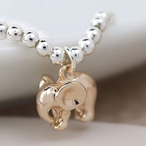 Stretchy Rose Gold Elephant Charm Bracelet