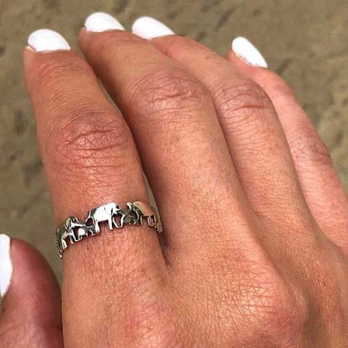 Family Of Elephants Sterling Silver Ring