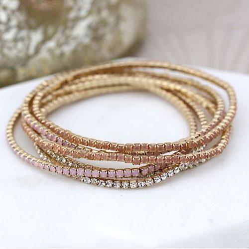 Blush Crystal Multistrand Gold Plated Bracelet