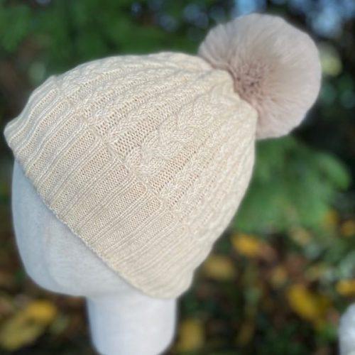 Cream Cable Cashmere Blend Bobble Hat